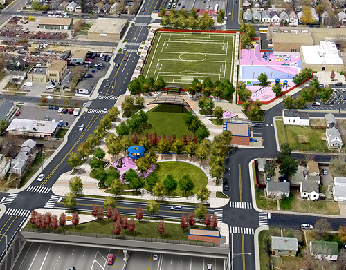 Visual Simulation of the Partial Cover Lowered Alternative with the updated Cover Park Design (Aerial View Zoom) - I-70 East Corridor