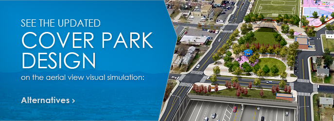 COVER PARK DESIGN - See the updated Cover Park Design on the aerial view Visual Simulation: Alternatives
