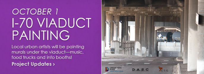 VIADUCT PAINTING - October 1, 2016 - I-70 Viaduct Painting Project - Local urban artists will be painting murals under the viaduct ... music, food trucks and info booths! See Project Updates