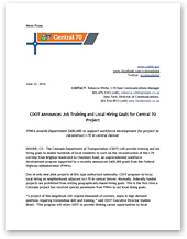 Media: News Release: CDOT Announces Job Training and Local Hiring Goals for Central 70 Project (June 22, 2016) (thumbnail)
