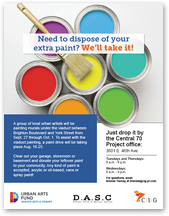 Flyer: I-70 Viaduct Painting: Need to dispose of your extra paint? We'll take it! (August 16 to 26, 2016) (thumbnail)