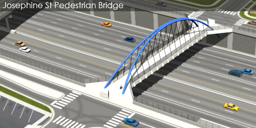 Preliminarily Identified Preferred Alternative Visualization and Animation - Josephine St Pedestrian Bridge