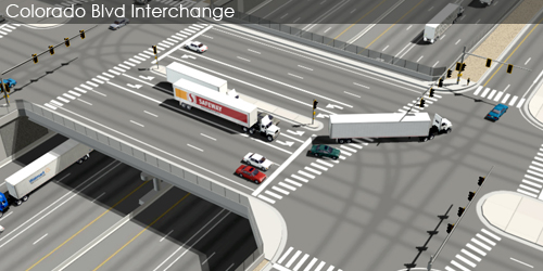 Preliminarily Identified Preferred Alternative Visualization and Animation - Colorado Boulevard Interchange