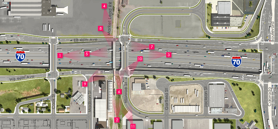 Visualization of the I-70 East Preferred Alternative - Market Lead RR Overcrossing and Monroe St Overpass