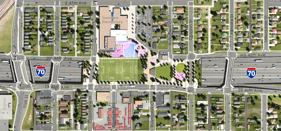 Visualization of the I-70 East Preferred Alternative - Partial Cover Park over I-70 Aerial View